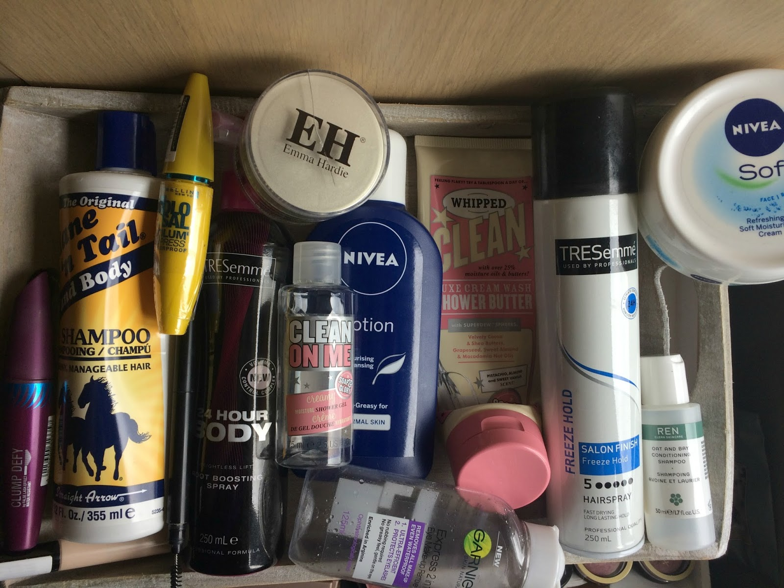 product empties ft nivea emma hardie soap and glory REN mane n tail tressemme maybelline sleek