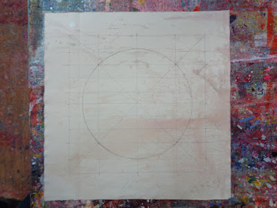 studio work laying out proportions for a new painting