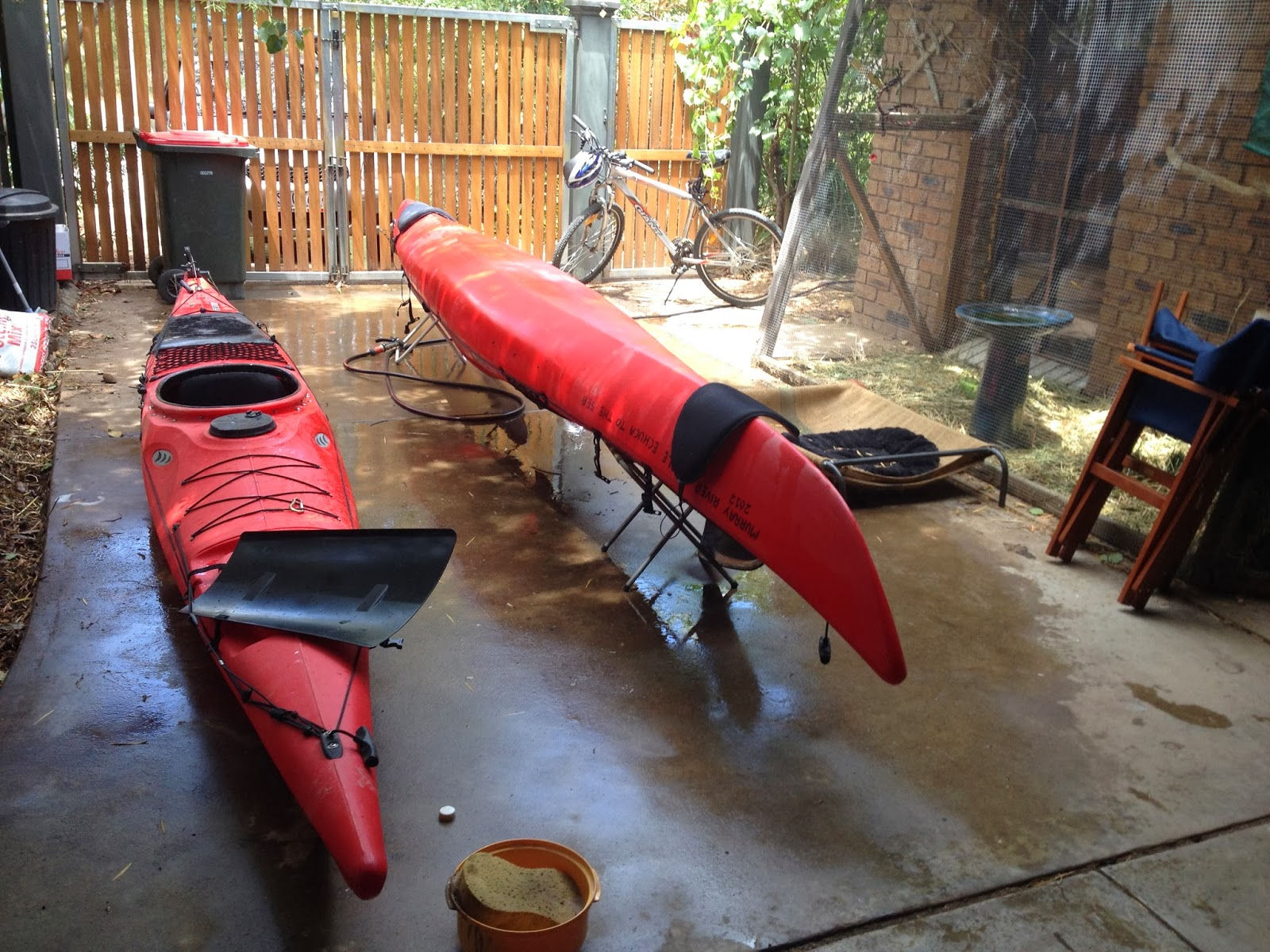 Murray River Kayak : Preparation for our paddle from the