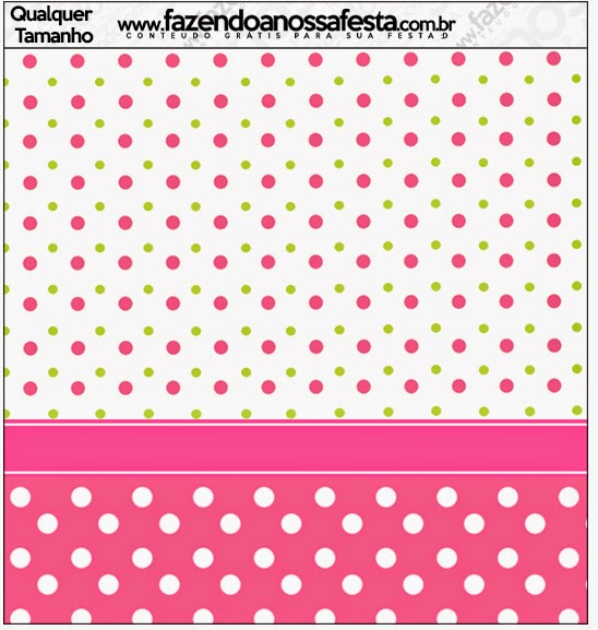 Pink, Green and White Polka Dots Free Printable  Labels.
