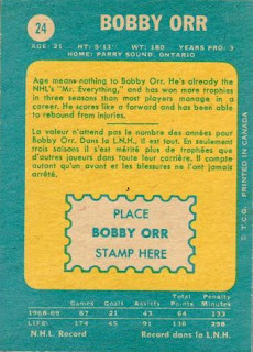 bobby orr boston bruins 1969-70 o-pee-chee hockey card back