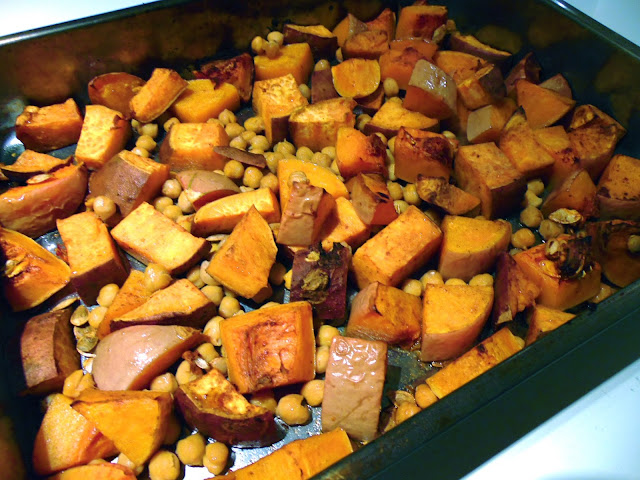 Roasted sweet potato, butternut squash and chickpeas