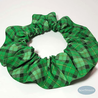 Lucky Irish Plaid Dog Scrunchie Ruffle, Green St Patricks Day