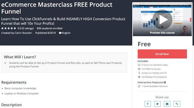 [100% Free] eCommerce Masterclass FREE Product Funnel