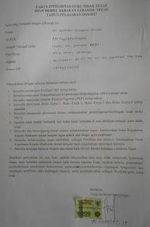 Surat Pernyataan Guru Honorer MTsN Model Babakan Lebaksiu Tegal