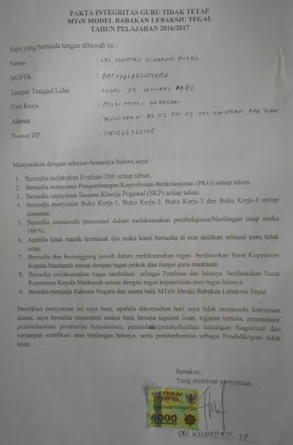 Pakta Integritas Diskriminatif  Guru Honorer MTsN 1 Tegal