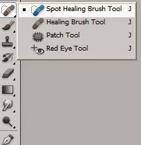 Spot Healing Brush Tool, Healing Brush Tool,Patch Tool, Red Eye Tool (J)