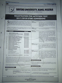 Bayero University Kano Post-UTME 2017/2018 Aptitude Test Announced