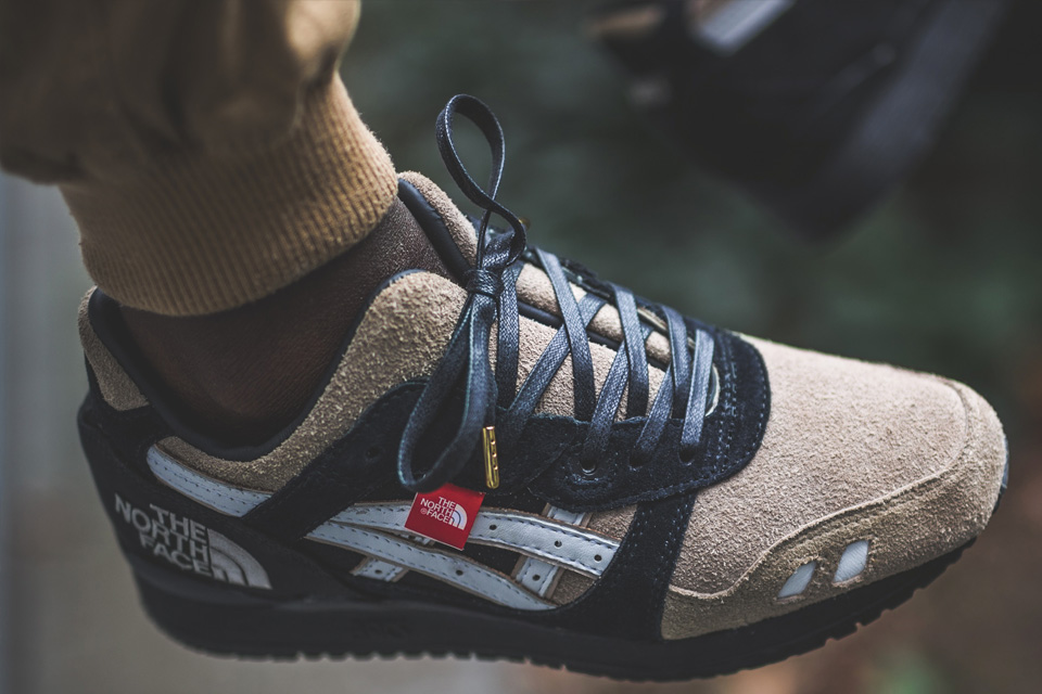 """719735f502b0 The North Face meets ASICS on this collaborative GEL-Lyte III custom. Using  a pair of """"Pure Pack"""" black GEL-Lyte IIIs as a blueprint"""