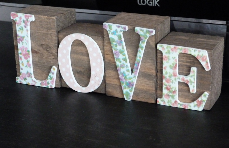 an image of melody maisons wooden love blocks