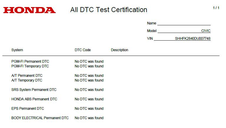 New Honda Civic Hatchback Mk9 2013: HDS - Health Check - All DTC Test