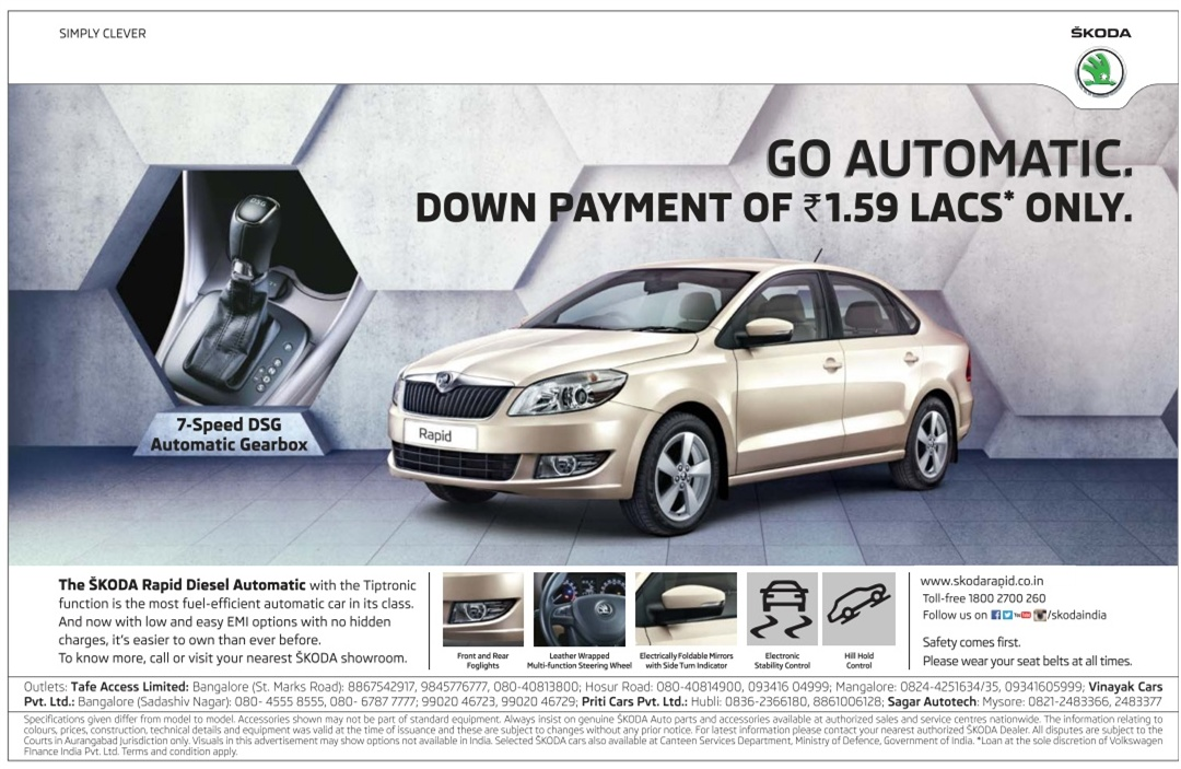 Skoda Rapid Automatic (AMT) lowest down payment | April 2016 discount offer
