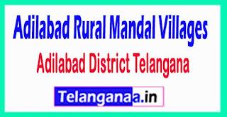 Adilabad Rural Mandal and Villages in Adilabad District Telangana