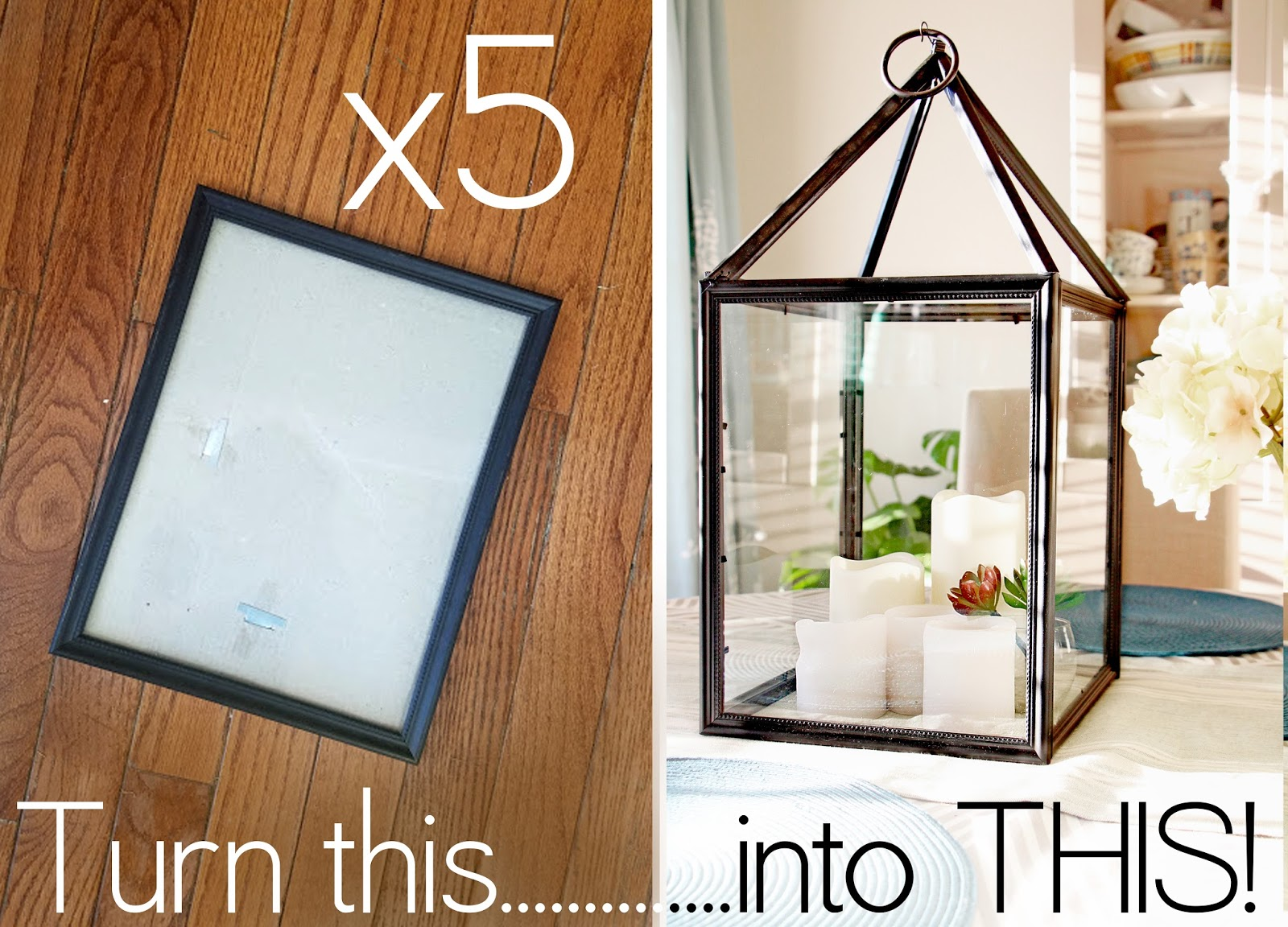 Grosgrain: DIY Hurricane Lanterns Out of Dollar Store Frames