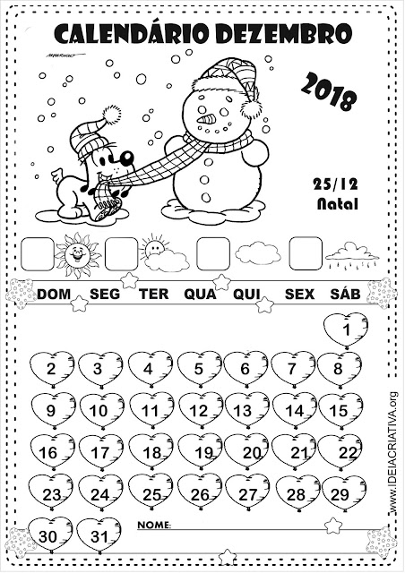 Calendários Dezembro Turma da Mônica