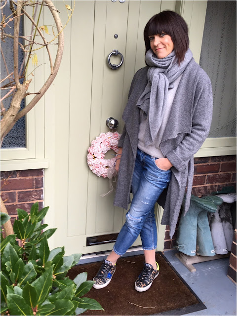 My Midlife Fashion, Zara Draped Wool Coat, Marks and Spencer pure cashmere crew neck jumper, zara cashmere scarf, zara distressed cigarette jeans, golden goose leopard print trainers