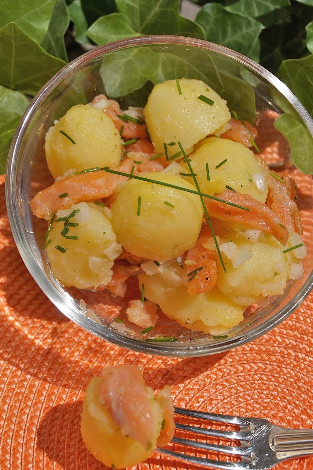 Recettes gourmandes by k lou salade nordique pomme de - Salade pomme de terre saumon fume ...