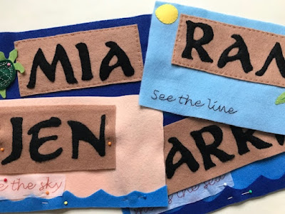 Felt Fish Extender name labels in progress