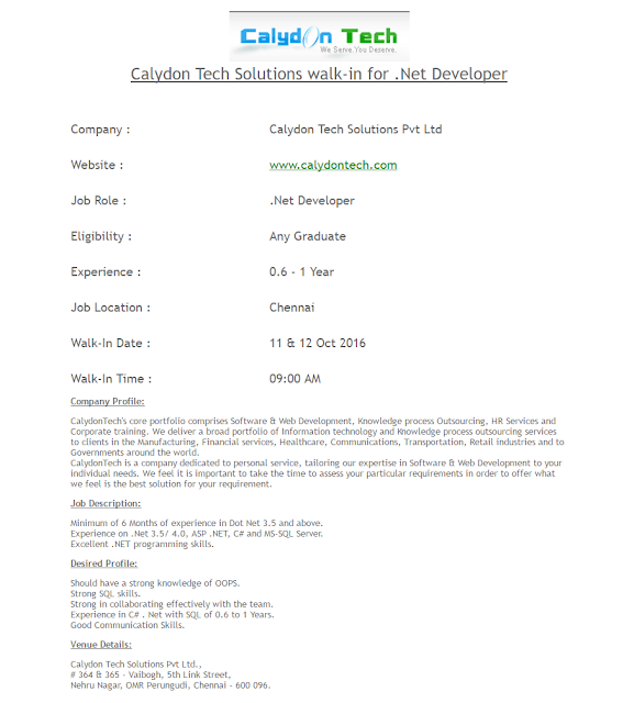 Calydon Tech Solutions walk-in