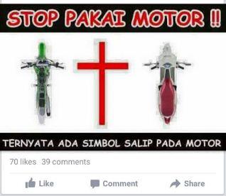 Lebay !!! Sepeda Motor Diasosiasikan Salib