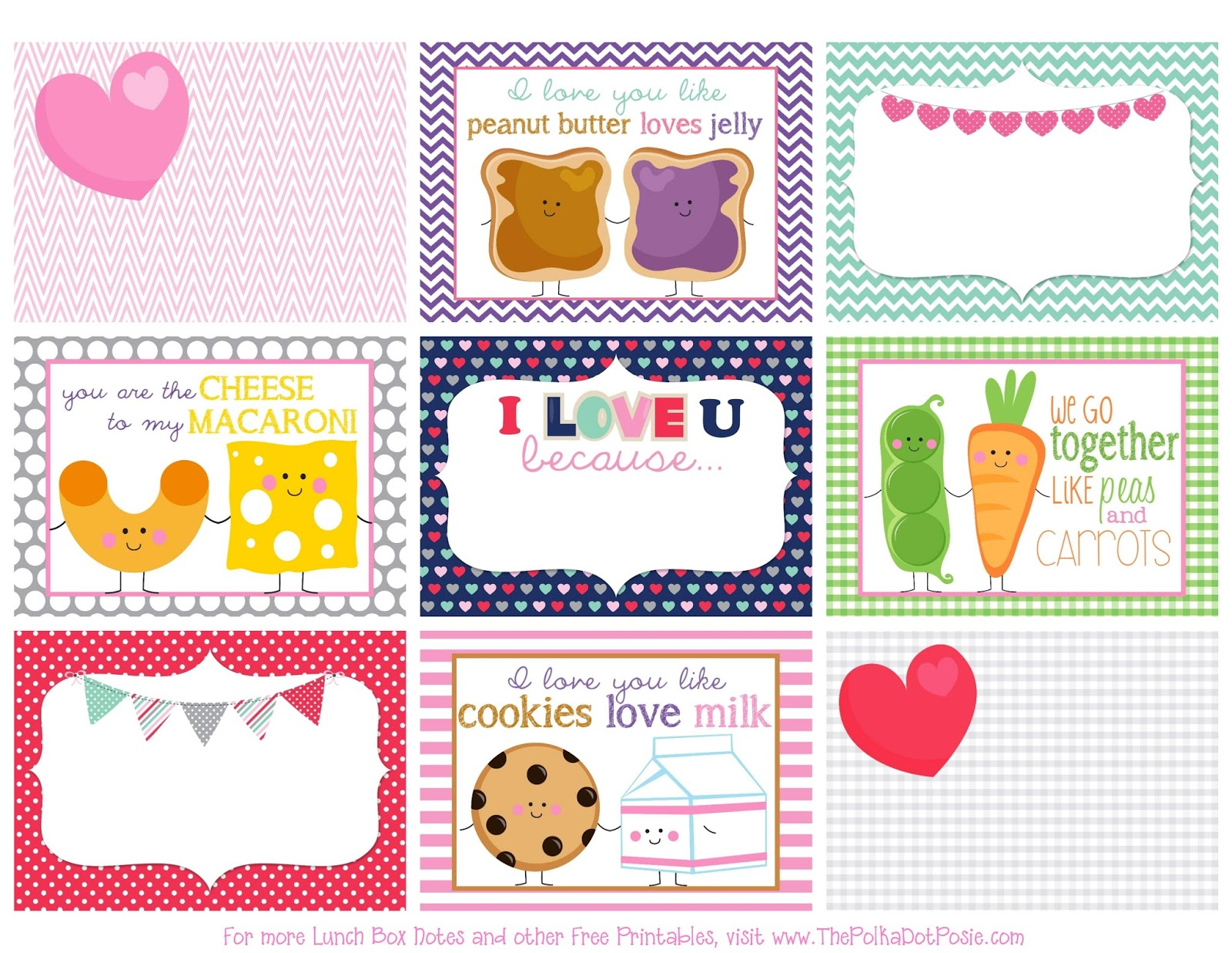 The Polka Dot Posie Printable Valentine S Day Lunch Box Notes