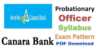 Canara Bank PO Syllabus Exam Pattern PDF Download