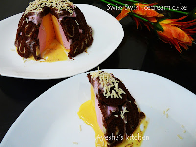 Swiss roll cake ice-cream cake 3 ingredient roll cake ice-cream cake desserts recipes easy dessert ideas quick dessert recipes Ayesha's kitchen desserts recipes
