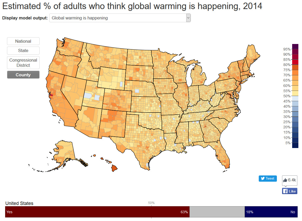 Estimates % of adults who think global warming is happening