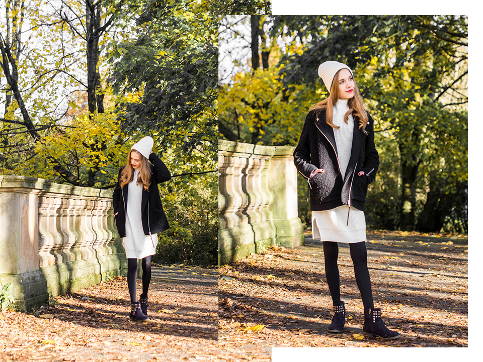Black and white outfit with jumper dress  - Mustavalkoinen asu neulemekon kanssa