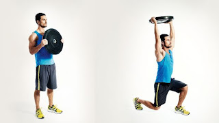 latihan weight plate lunge press
