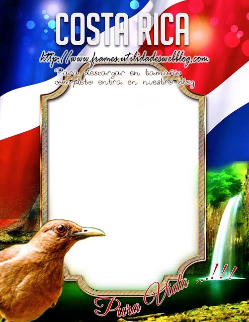 patriótico marco para fotos con bandera y ave costa rica