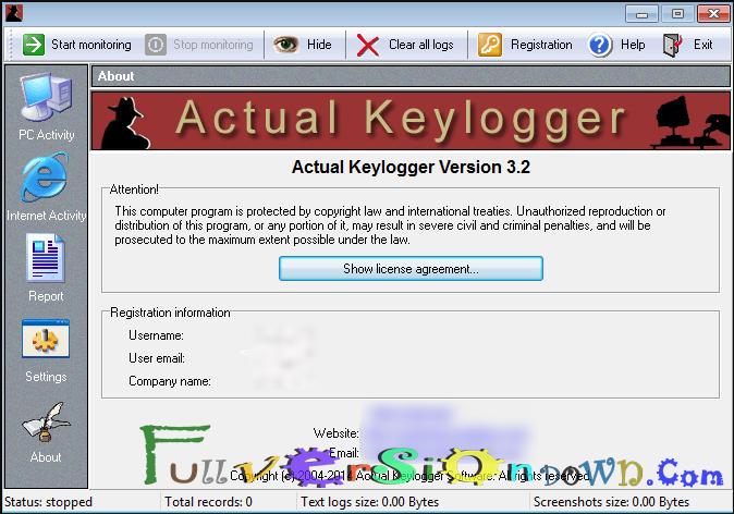 Actual Keylogger 3.2 Full Version