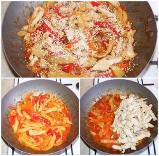 pui cu legume la tigaie wok, mancaruri cu carne, mancaruri cu legume, retete cu pui, preparate din pui, retete culinare, wok, piept de pui la tigaie cu legume si susan,