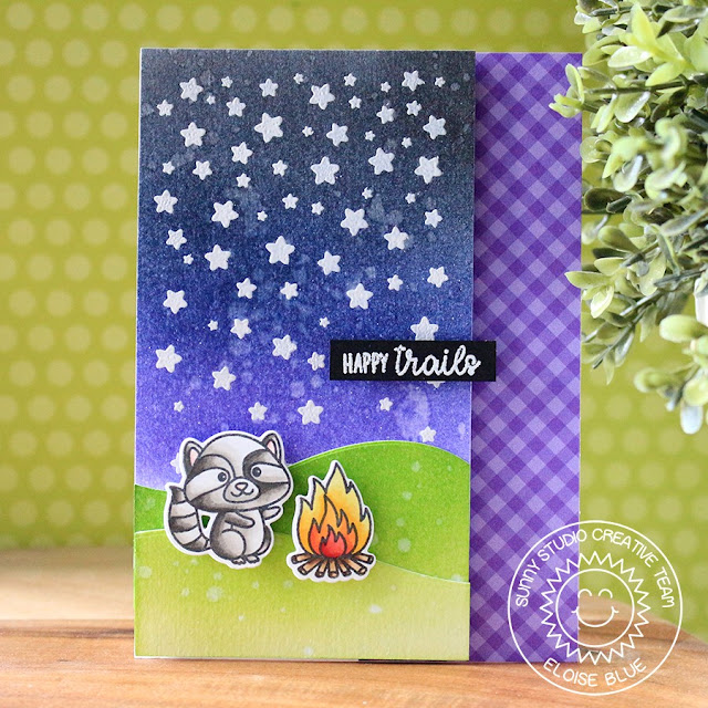 Sunny Studio Stamps: Cascading Stars Critter Campout Camping Themed Critter Card by Eloise Blue