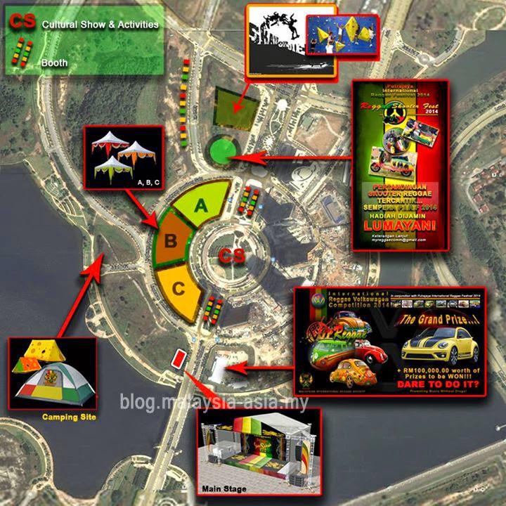 Map of Putrajaya International Reggae Festival 2014
