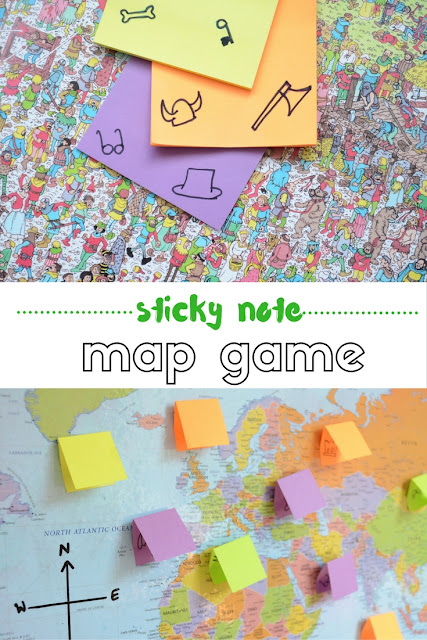 The Practical Mom: Sticky Note Map Game for Little Kids