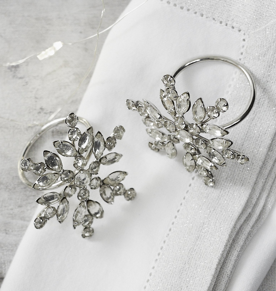 The White Company Jewelled Snowflake Napkin Rings-Set of 4