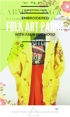 Amazing Floral Folk Art Embroidery Vintage c.1970s Parka Jacket With Faux Fur Hood | Thriftstore Thursday