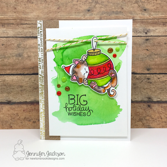 Advent Calendar Extravaganza 2016 with Taheerah Atchia | Big Wishes Kitty Christmas Card by Jennifer Jackson | Ornamental Newton Stamp Set by Newton's Nook Designs #newtonsnook