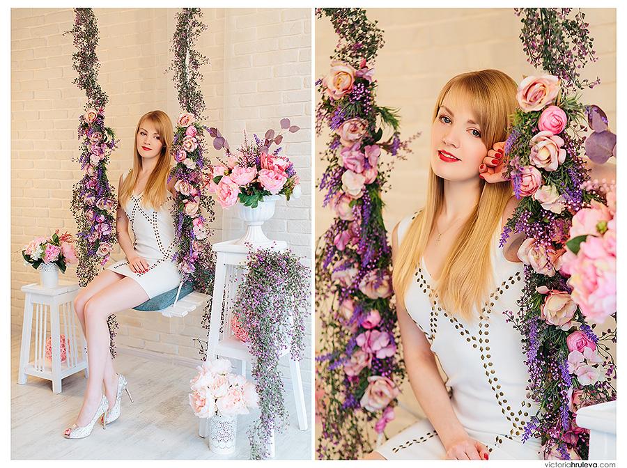 весенний фотопроект в интерьерной фотостудии пятигорска, весенние декорации, фотограф Виктория Хрулёва