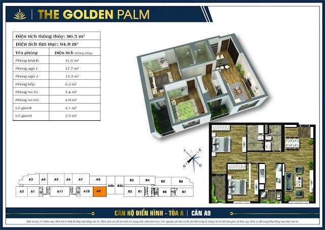 Thiết kế căn hộ A09 tòa A chung cư THE GOLDEN PALM