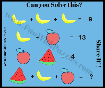 Fruits Math Picture Brain Teaser for Kids
