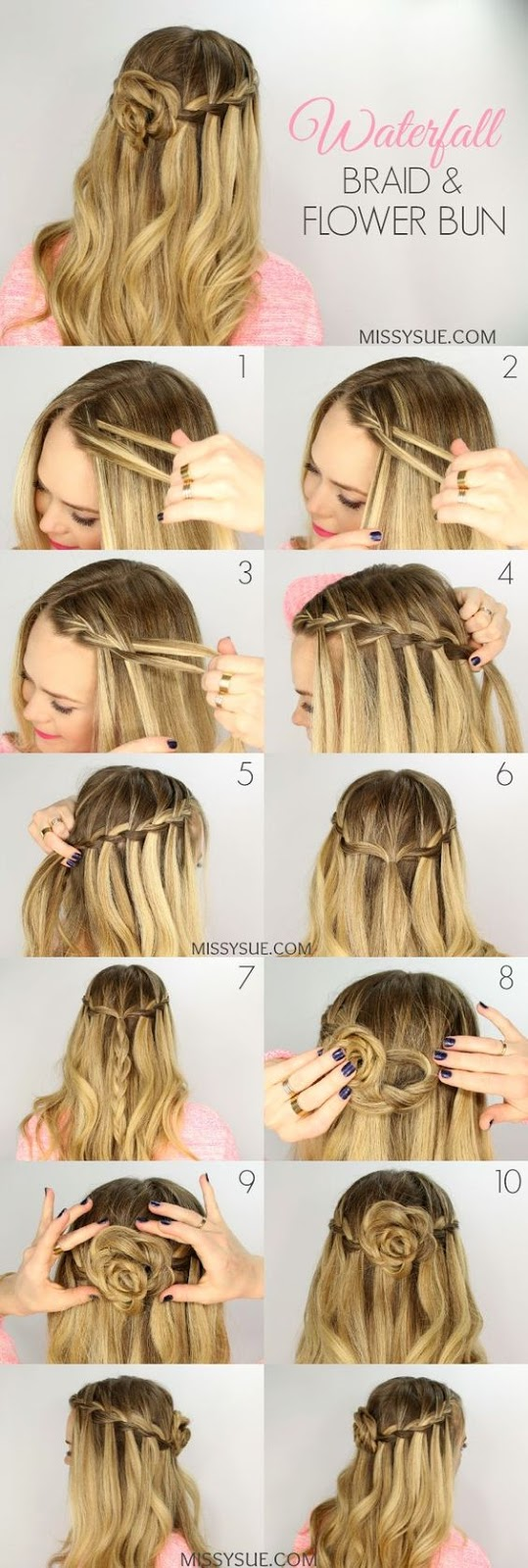 Waterfall Braid and Flower Bun Easy Women's Hairstyles