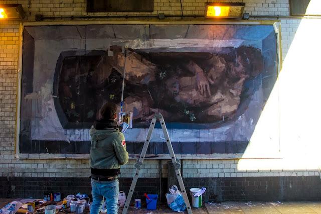 """Adam & Eva"" New Street Art Pieces By Spanish Artist Borondo On Old Street, East London. 8"