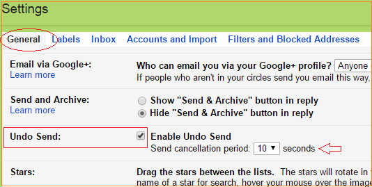 How to enable undo send mail feature in gmail