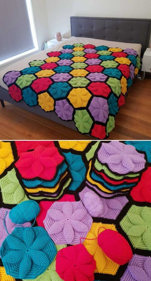 Crochet Hexagon 3D Motif with Flower - Tutorial