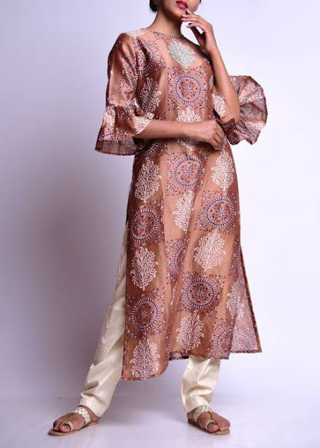 Long Straight Kurti with Frilled Sleeves