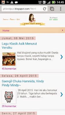 Tampilan blog versi mobile di Chrome