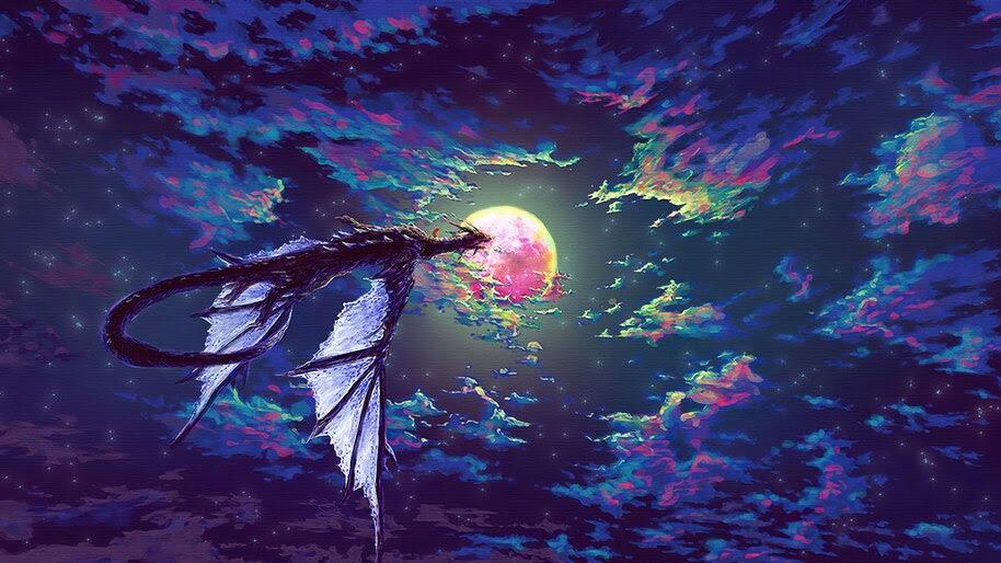 Dragon, Art, Night, Sky, Moon, Fantasy, 4K, #6.767