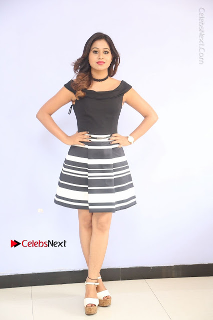 Actress Mi Rathod Pos Black Short Dress at Howrah Bridge Movie Press Meet  0013.JPG